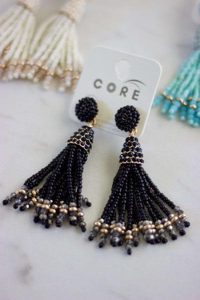 Beaded By Tassel Earrings- Black