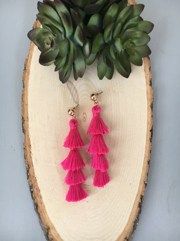 Gabriela Fringe Drop Earrings- Hot Pink