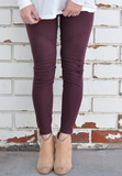Burgundy Moto Leggings
