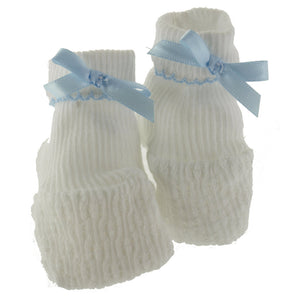 Heirloom Knit Baby Booties, Blue Bow