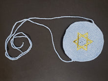 Load image into Gallery viewer, Knitted Baby Kippah Blue With Gold Star of David