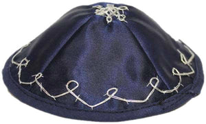 Baby Kippah Satin, Royal blue with Silver stitching