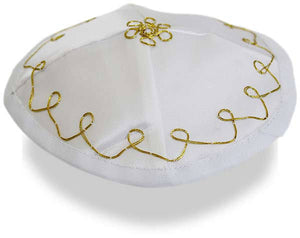 Baby Kippah Satin with strings | White with Gold stitching