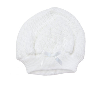 Heirloom Knit Beanie Cap with Satin Bow