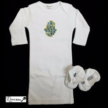 Load image into Gallery viewer, Gold Hamsa Bris Gown & Booties **Preemie**