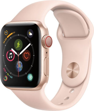 Apple - Apple Watch Series 4 (GPS + Cellular) 40mm Gold Aluminum Case with Pink Sand Sport Band