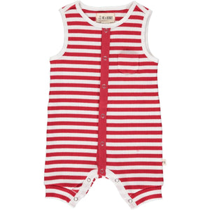 Pablo Ribbed Playsuit - Red/WhiteStripe