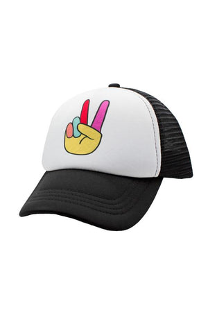 Peace Trucker Hat - Black/White