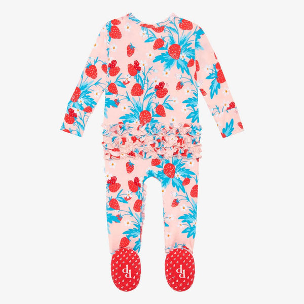 Strawberry Footie Ruffled Zippered One Piece
