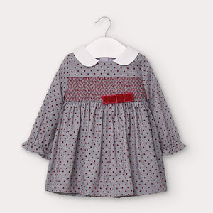 Polka-dot Flannel Dress - Silver/Red