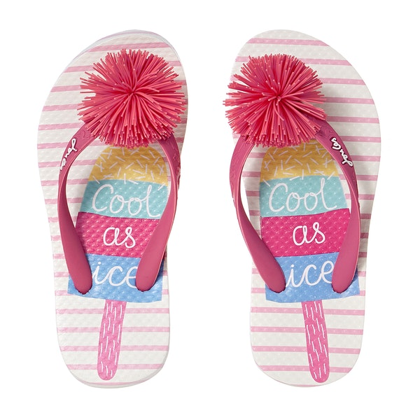White Ice Pop Pom Flip Flop