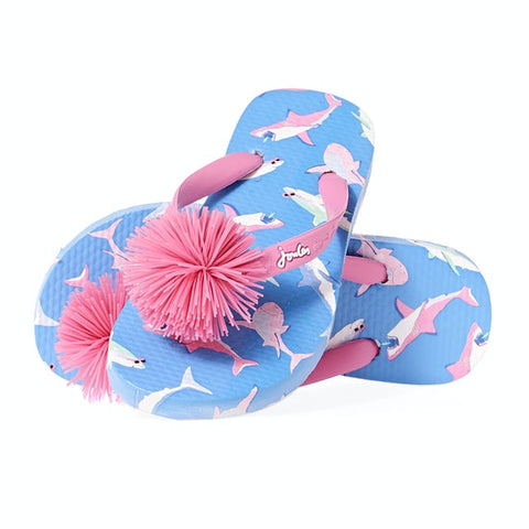 Blue and Pink Shark Pom Flip Flop