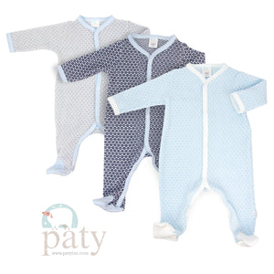 Light Blue Paty Knit Footie with Contrast Trim