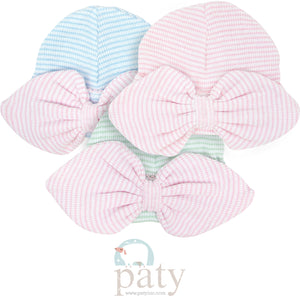 Mint Rib NB Beanie with Pink Bow