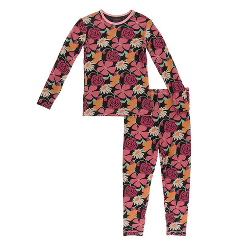 Zebra Market Flowers Print Long Sleeve Pajama Set