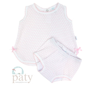 Pink 2PC Sleeveless Top with Diaper Cover Set