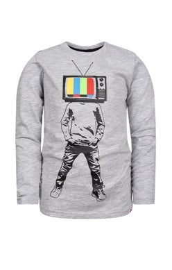 Graphic Long Sleeve Tee - Plugged In - Heather Mist