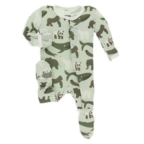 Aloe Endangered Animals Print Footie W/ Snaps