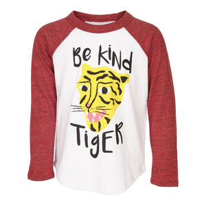 Be Kind Tiger White and Cardinal Long Sleeve Raglan Tee