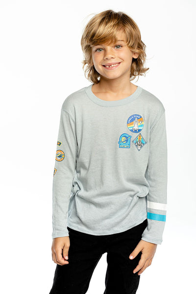 Planets/Space Man Cloud Jersey Long Sleeve Crew Neck Tee - Dreamy