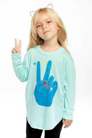 Peace and Hearts Breezy Long Sleeve Shirttail Tee
