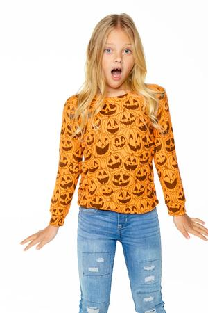Happy Jack-O-Lanterns Long Sleeve Raglan Pullover  - Blaze