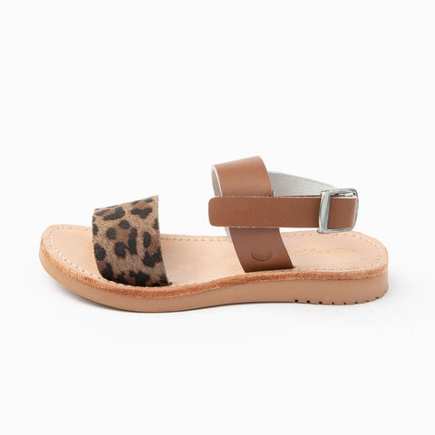 Sanibel Sandal - Cognac with Leopard