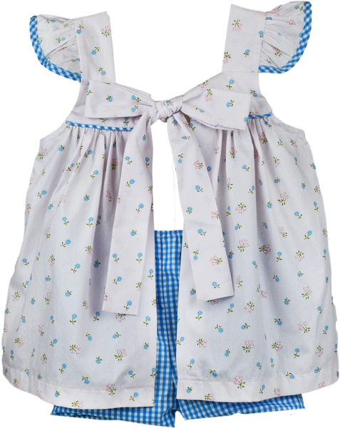 Sally Swing Set - Pink/Blue Flower Print - Tweet Tweet, Isn't It Sweet