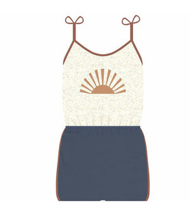 Sunrise Romper - Navy Terry Loop/Multi Speckle