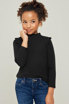 Girls Black Long Sleeve Top