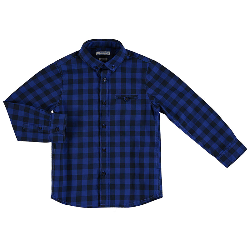 Long Sleeve Button Down - Blue/Navy Checkered