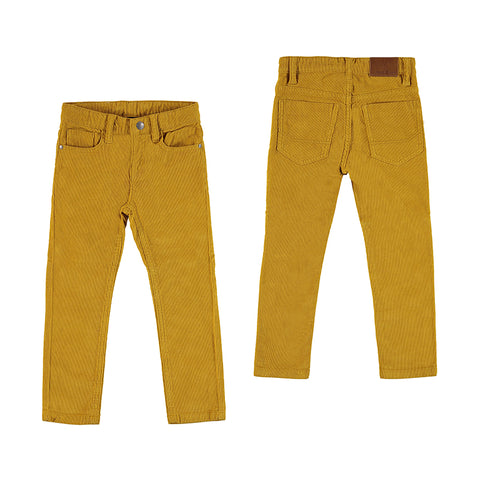 Basic Slim Fit Cord Trousers - Honey