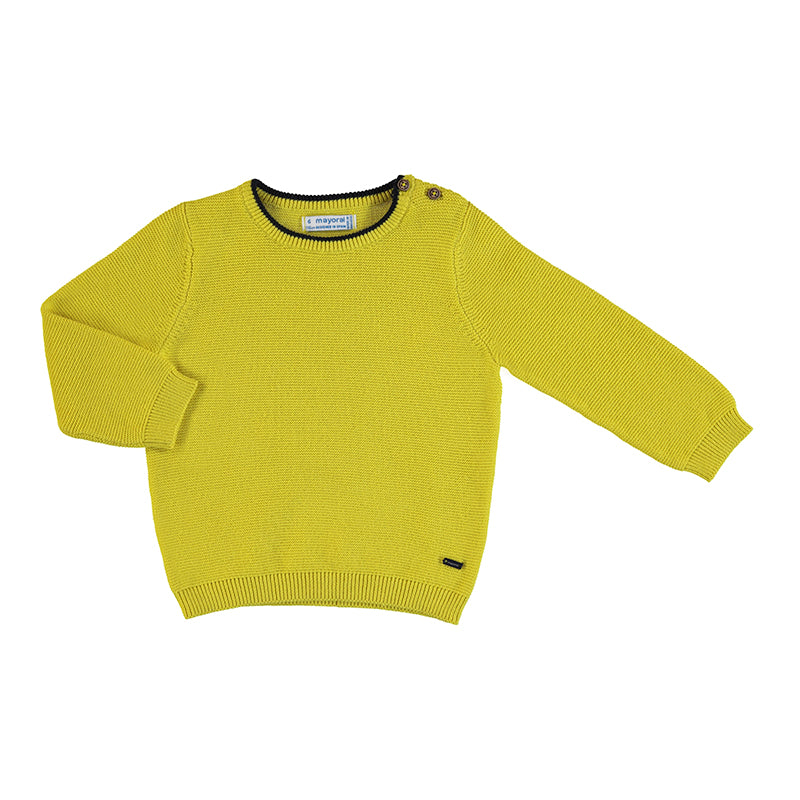 Basic Cotton Sweater - Chartreuse