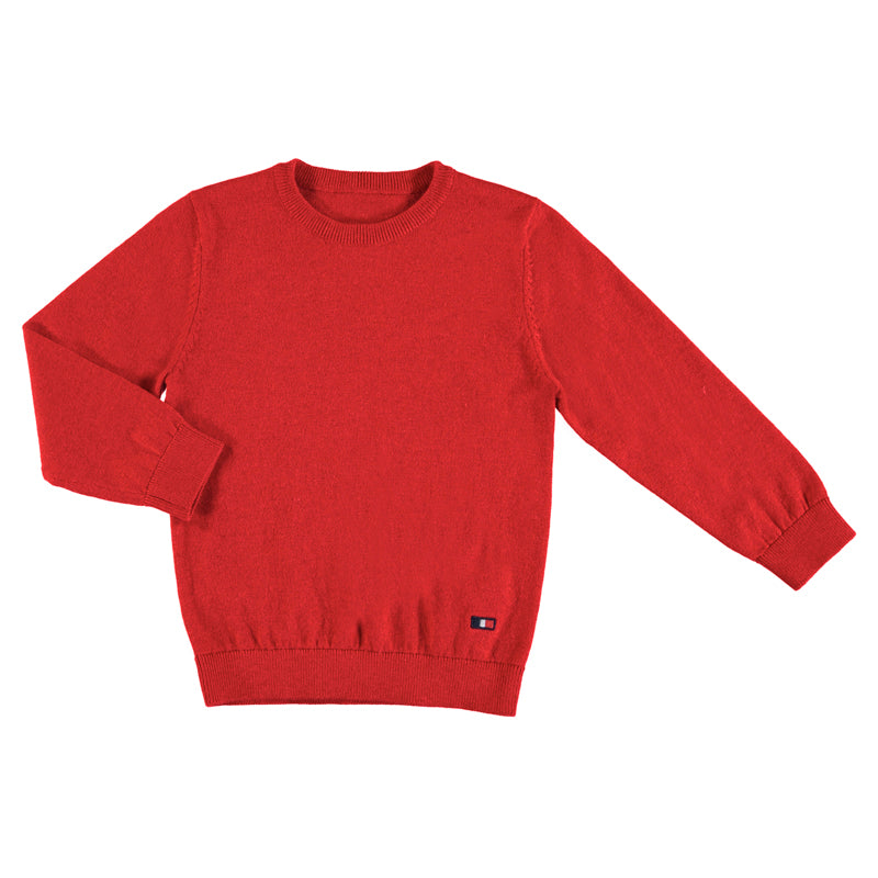 Basic Crew Neck Sweater - Red
