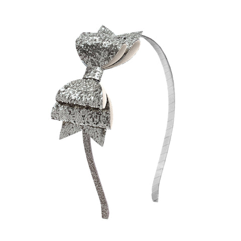 Silver Glitter Bow Hard Headband