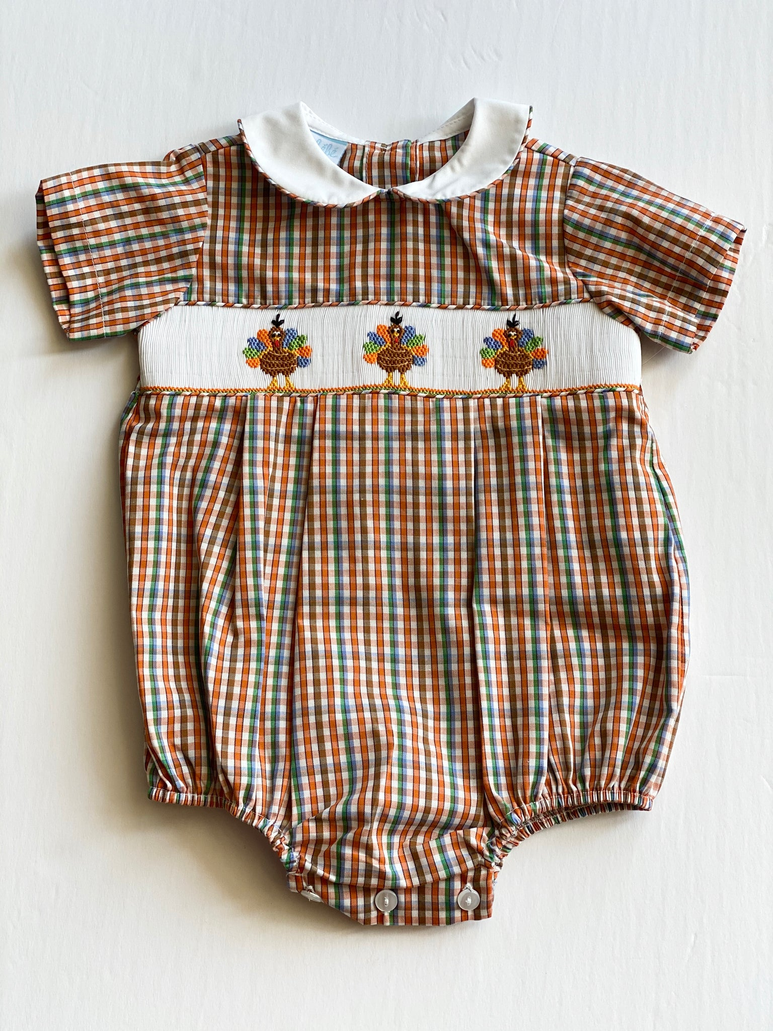 Brown Plaid Smocked Boy Turkey Bubble