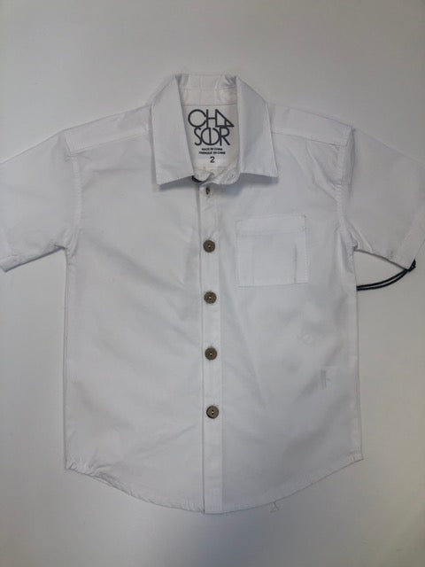 Boys Cotton Poplin Short Sleeve Button Down - White