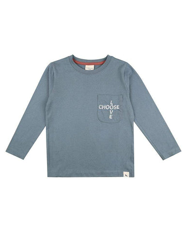 Embroidered Pocket Top - Steel - Choose Love