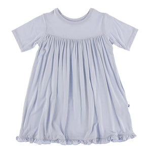 Solid Short Sleeve Swing Dress - Dew