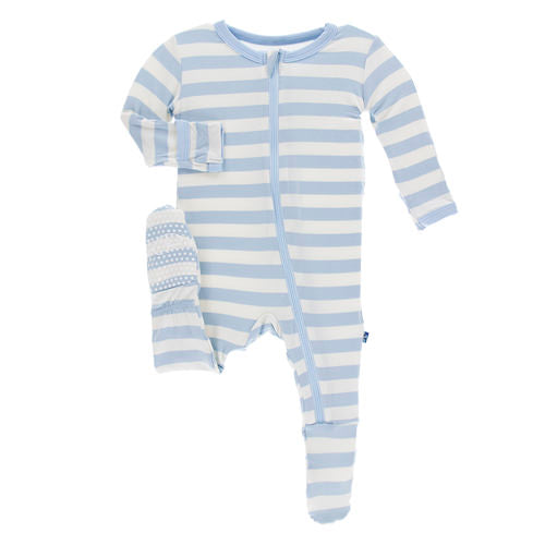 Pond Stripe Print Footie with Zipper