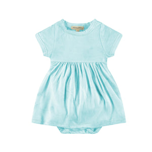 Baby Short Sleeve Dress with Bodysuit - Peace & Love - Abstract Aqua