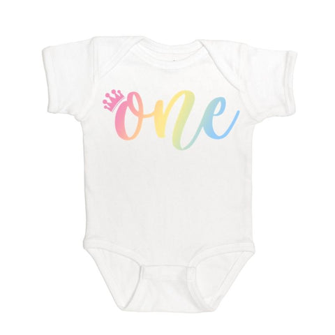 One (Girl) Rainbow Short Sleeve Bodysuit - White
