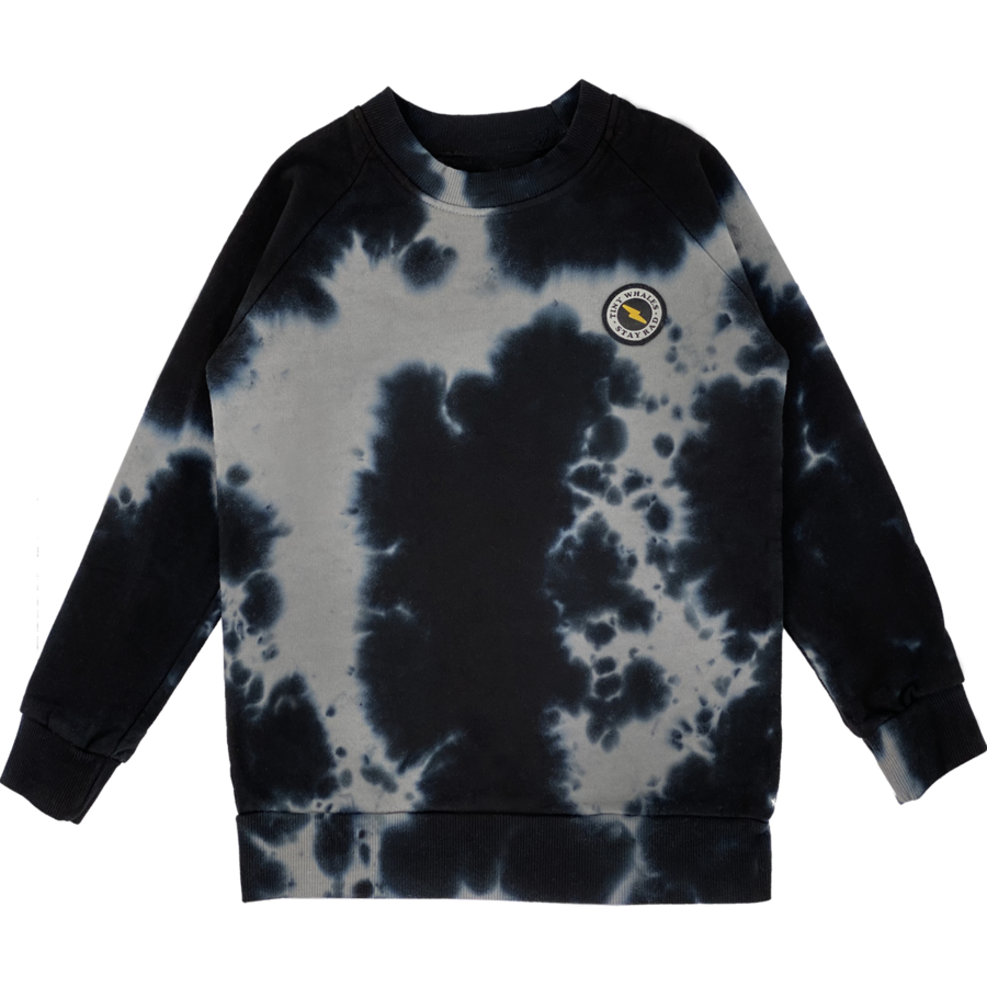 Stay Rad Crew Neck Sweatshirt - Black Tie Dye