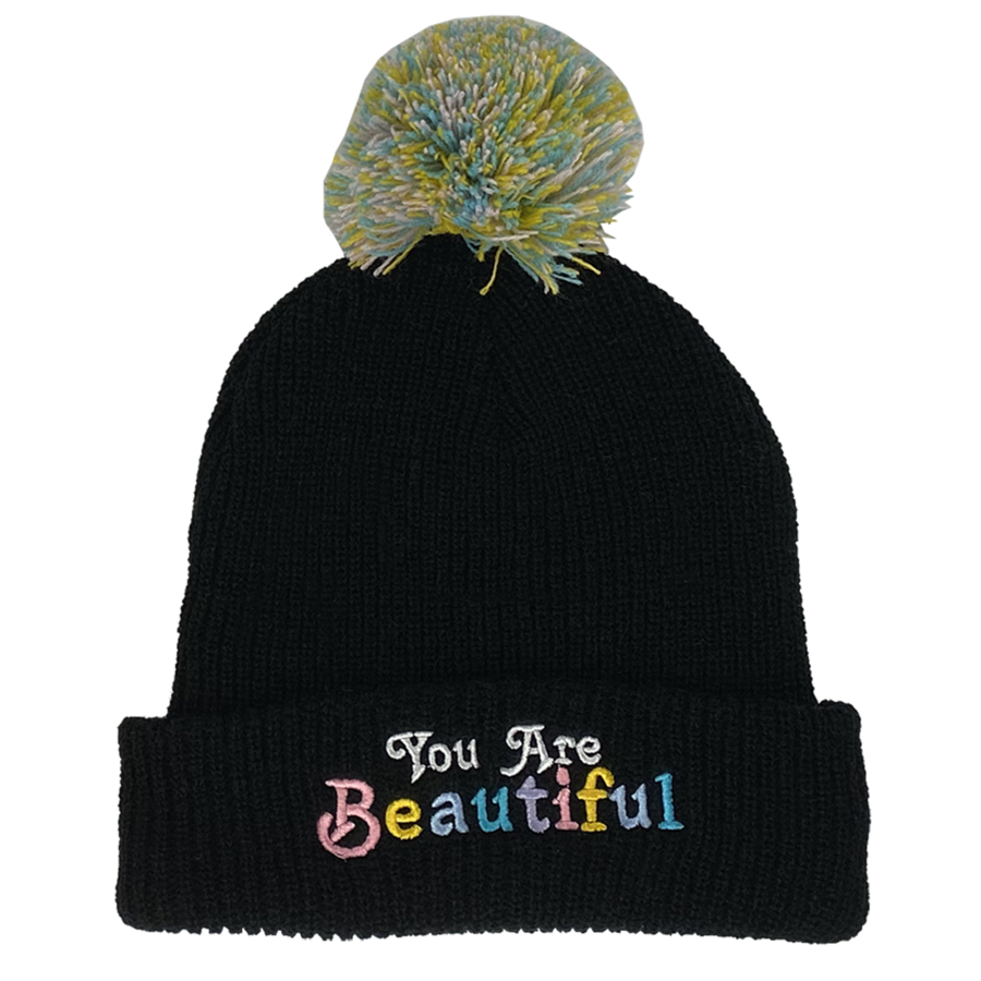You Are Beautiful Pom Pom Beanie - Black
