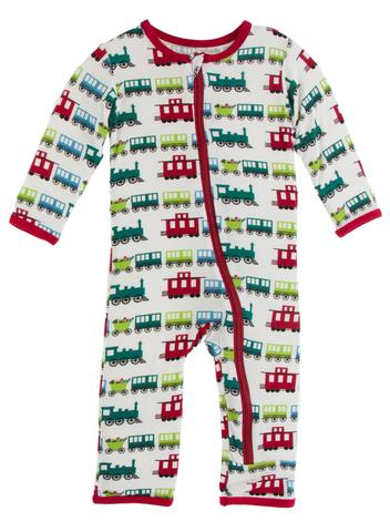 Natural Toy Train Print Coverall with Zipper