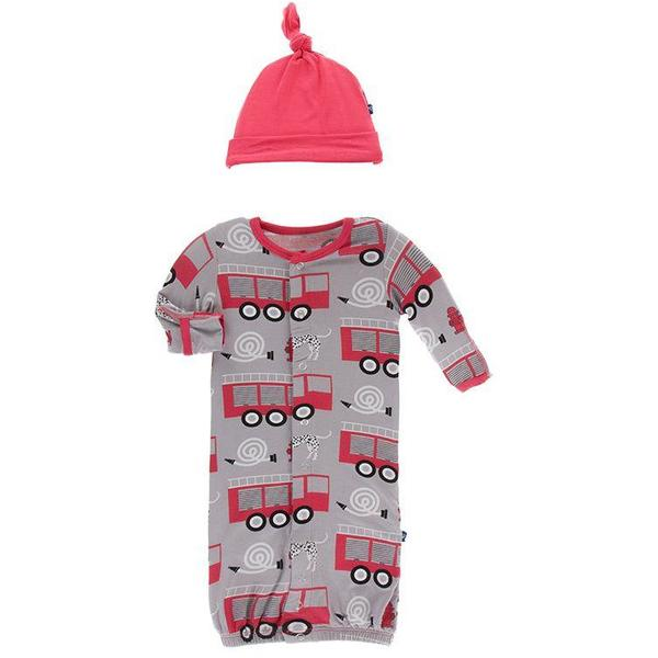 Feather Firefighter Print Gown Converter and Knot Hat Set