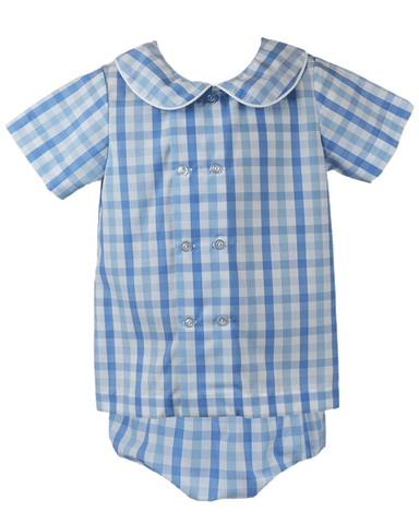 Arlington Diaper Set - Blue Plaid - Little Bunny Foo Foo