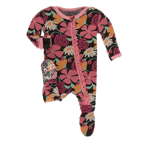 Zebra Market Flowers Print Muffin Ruffle Footie with Zipper