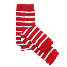 Footless Ruffle Tights - Red/White Stripe