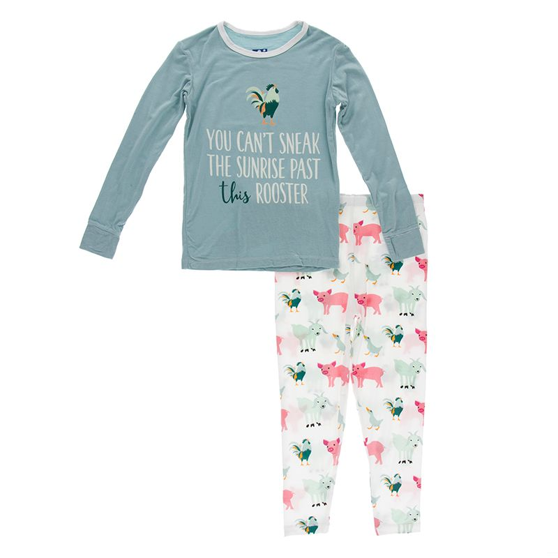 Natural Farm Animals Long Sleeve Piece Print Pajama Set
